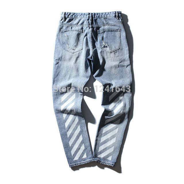 Kanye west hip hop fresco blanco impresión de la tela cruzada de los hombres lavado con agua agujero Rectificado jeans mujeres de los hombres de Mezclilla pantalones vaqueros ocasionales
