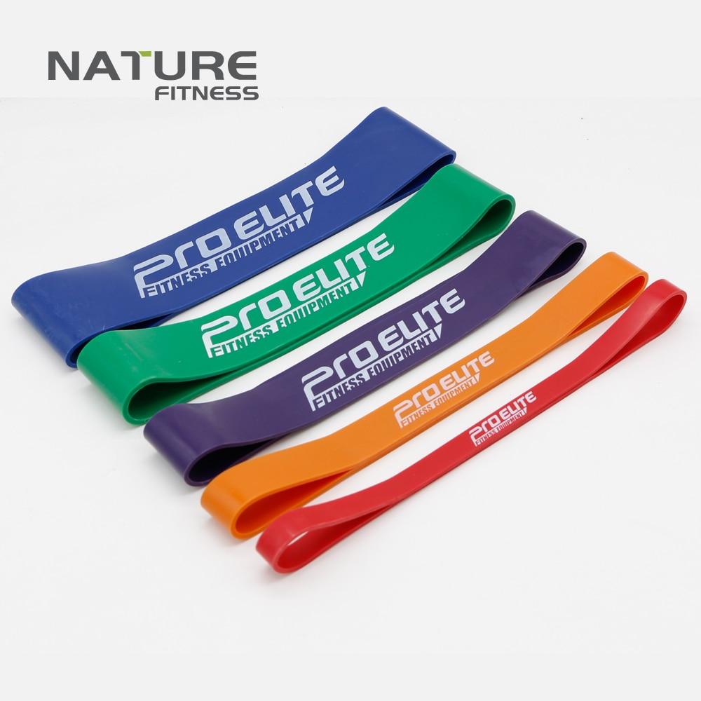 자연의 라텍스 저항 밴드는 힘 트레이닝 휘트니스 5 색 세트로 근육 강화