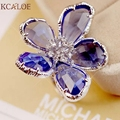 Цветок Кольцо Большие Кольца Для Женщин Свадьба Обручальное Коктейль Мода Серебряная Роза Золота Anillos Cristal Austriaco anillos де-плата