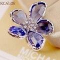 Anillo de flores Grandes Anillos Para Las Mujeres Compromiso de La Boda Cóctel de Moda Plata Oro Rosa Anillos de Cristal anillos de plata Austriaco