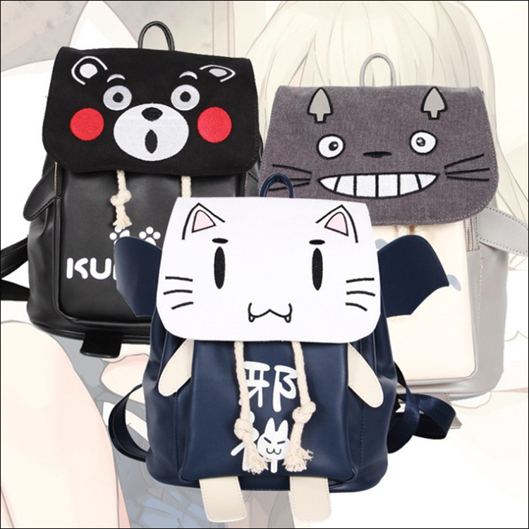 New Kumamon Totoro Backpack Anime Ao no Kanata no Four Rhythm Cartoon Bags Canvas Student School Bag Unisex цена 2017