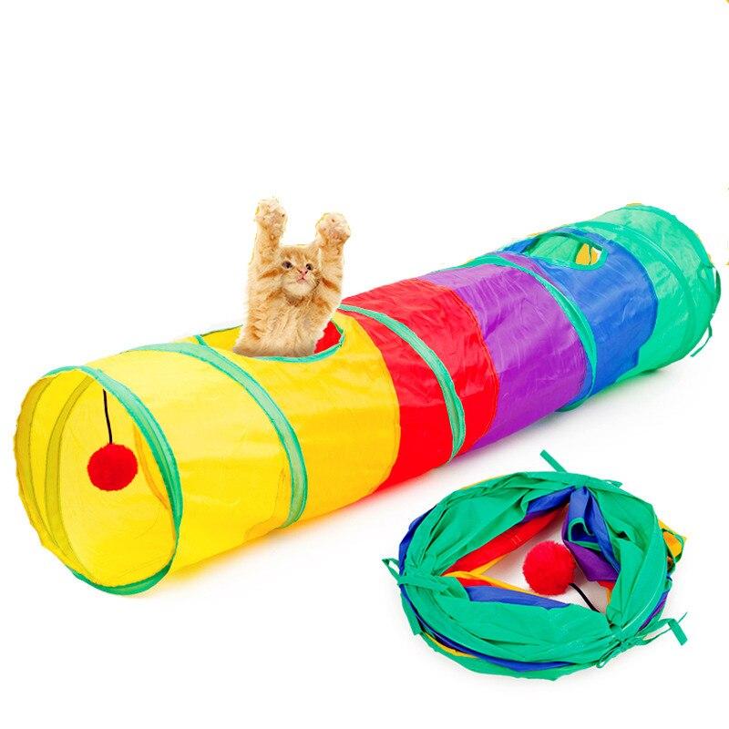Juguete plegable de Gato canales, rompecabezas de arco iris, 2 agujeros, túnel para gato, pelota de juego interactivo para gatito