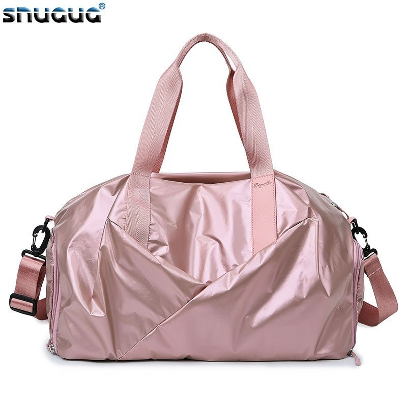 2019 Waterproof Luggage Shoulder Bag Sports Double Zipper Travel Duffle Bag For Women Nylon Training Bag Men Gym Bags With Shoe
