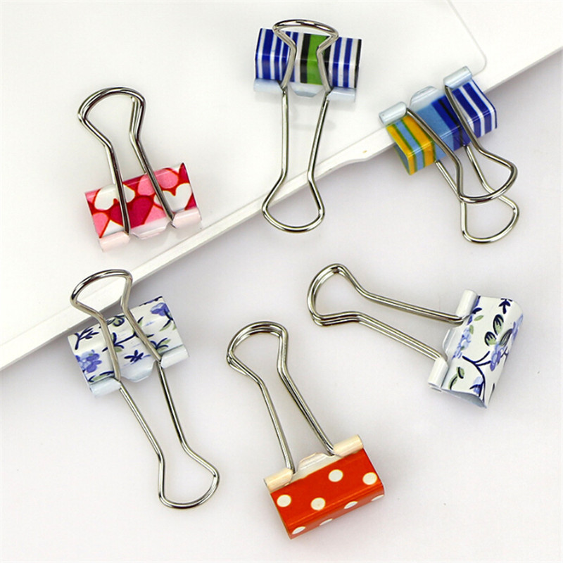 10Pcs Small Size 38mm Printed Metal Binder Clips Paper