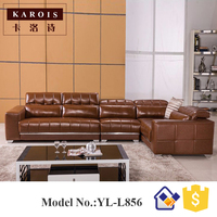 European Style Living Room Furniture Simple Features U Shape Modern Leather Sofas With Chaise Sofas L856