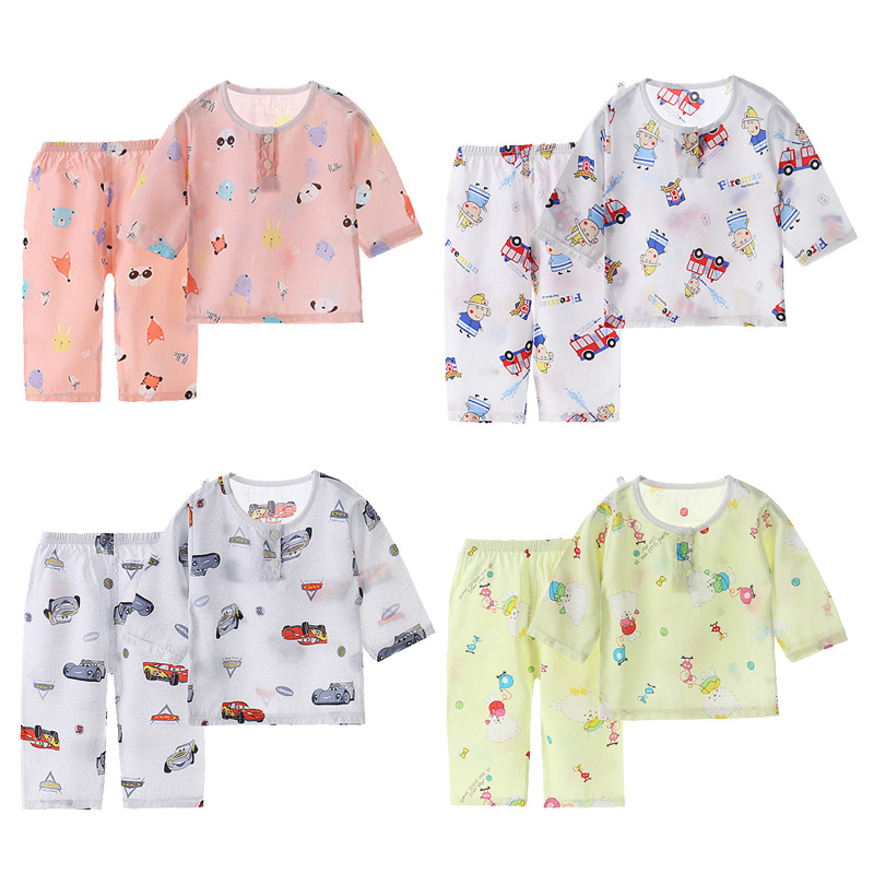 Boys And Girls Summer Cotton Silk Suit Artificial Cotton Home Clothes Children's Seven-point Sleeve Baby Cotton Silk Pajamas
