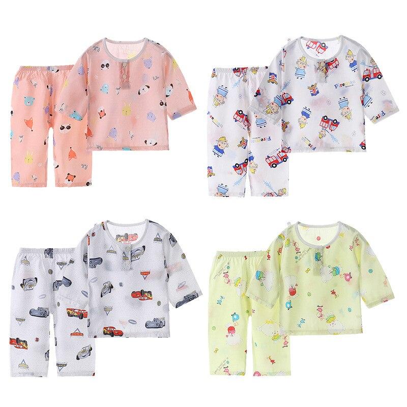 Meninos e meninas verão algodão de seda terno algodão artificial casa roupas crianças sete pontos manga bebê algodão pijama de seda