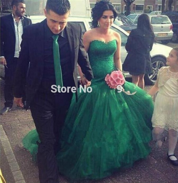 Couture Green Wedding Dresses Sweetheart Beautiful Lace Liques Top Full Length Elegant Mermaid Long Bridal