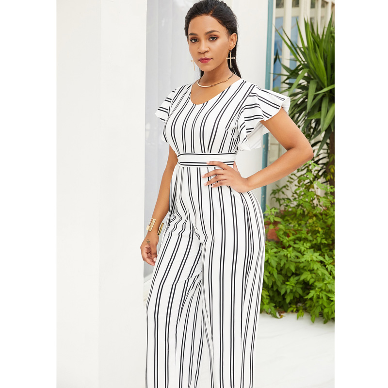 c84f1638d52a 2019 Elegant Fashion Ruffle Women Jumpsuit Short Sleeve White Black Striped  Summer Romper Wide Leg Trouser Long Overall Casual Outfit 5102 From ...