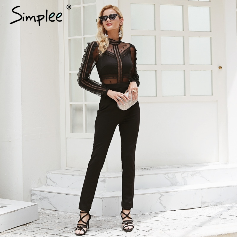 Simplee Sexy lace women   jumpsuit   romper Black mesh long sleeve   jumpsuit   2018 Elegant summer   jumpsuit   overalls casual streetwear