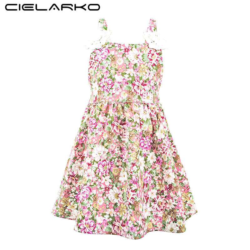 Cielarko Girls Dress Bomuldsstrop Kids Flower Dresses Ærmeløs Beach Vestidos Vintage Children Summer Clothing For Girl