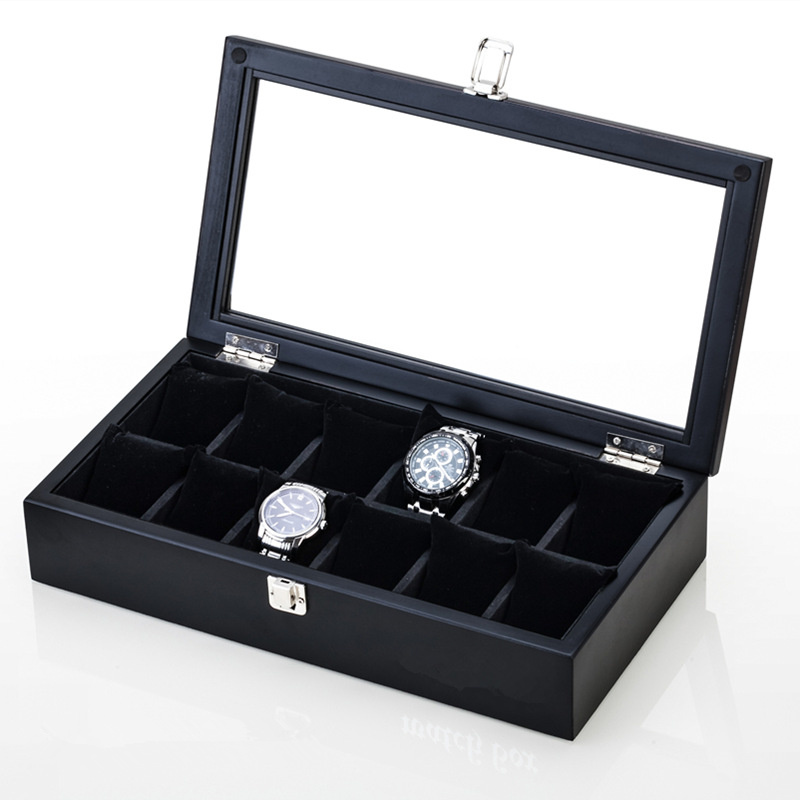 Slots de Madeira Caixa de Relógio Preto dos Homens Relógio para Mulheres Titular de Exibição de Jóias Caixa de Armazenamento Caixa com Janela 12