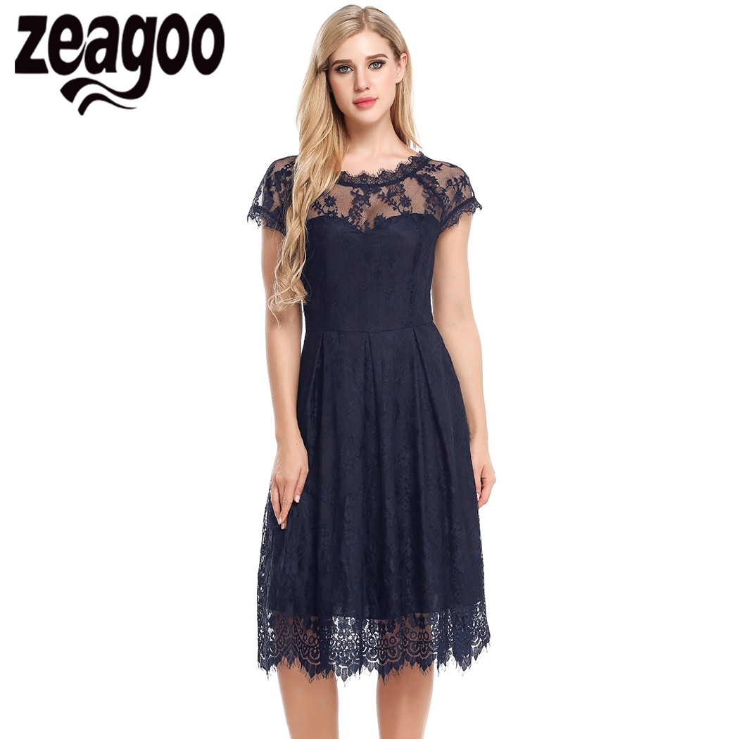 Zeagoo Summer Women Lace Dress Sexy Hollow Out Vintage Floral Drapped A-Line Pleated Party Feminino Dresses See-through Vestidos