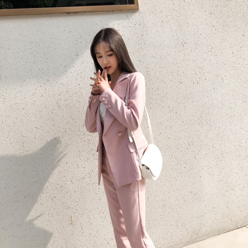 Pink Double Breasted Women Pant Suits Notched Blazer & High Waist Pencil Pant Solid OL Style Female 2 Pieces Set 2019