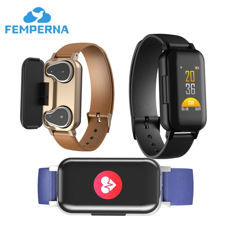 Femperna TWS Bracelet intelligent Bluetooth casque Fitness Bracelet moniteur de fréquence cardiaque montre intelligente Sport montre hommes femmes-in Bracelets connectés from Electronique    1