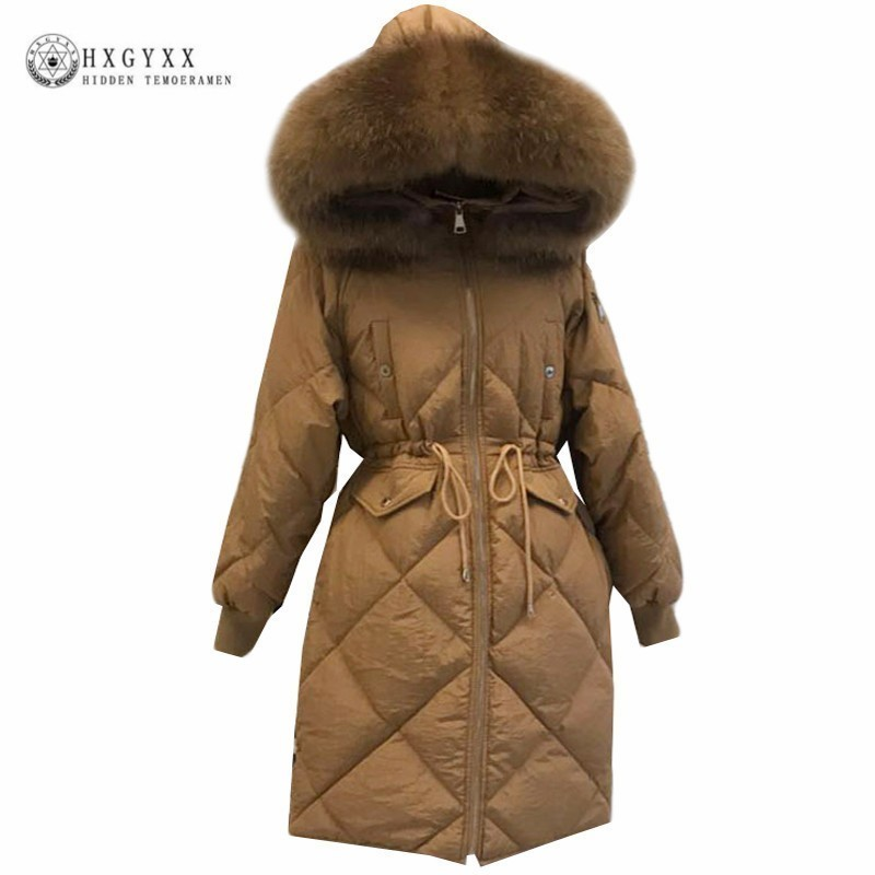 Raccoon Fur Winter Parka Plus Size Goose Feather Jacket Woman White Duck   Down     Coat   Long Thick Warm Outerwear 2019 Korean Okd413