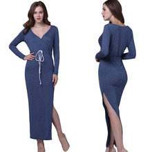 Fashion Summer Style Long-sleeved Dress Women Elegant Casual Wear to Work Office Split Pencil Dress Cotton Causual