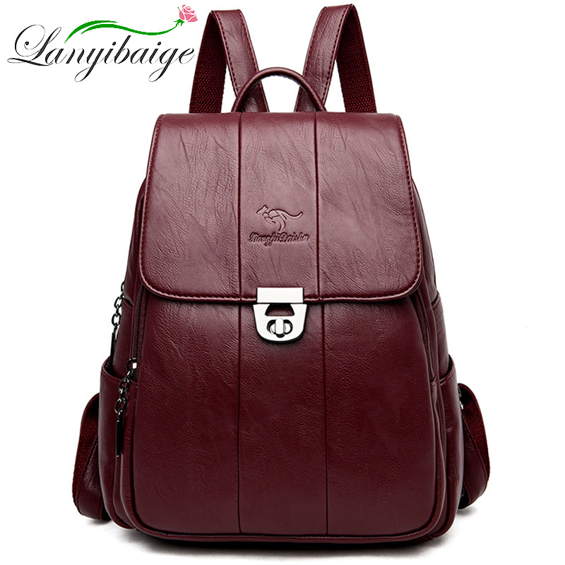 Women Leather Backpacks High Quality 2019 Female Vintage Backpack Travel Shoulder Bag School Bags For Girls Mochilas Feminina