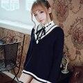 Princesa dulce lolita BOBON21 Todo-Fósforo de rayas con cuello en V suéter suéter estudiante Estudiante estilo Simple estilo designClassic T1405