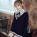Princess sweet lolita student sweater BOBON21  All-match stripe V neck sweater Student style Simple designClassic style T1405