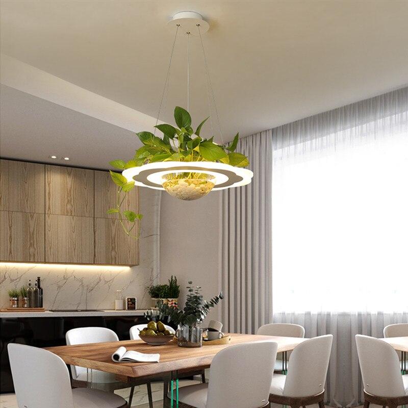 Modern Nordic Acrylic Glass Plants Pot Pendant Light for Dining Room Foyer Bar Creative Suspension Lamp Dia 48cm 1774