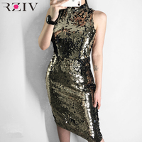 RZIV 2019 spring women dress casual multi colored sequined sleeveless halter dress