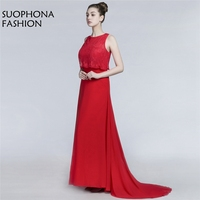 Fashion Vestido De Festa Chiffon Red Formal Dress 2018 Cap Sleeve Long Evening Dress Ever Pretty