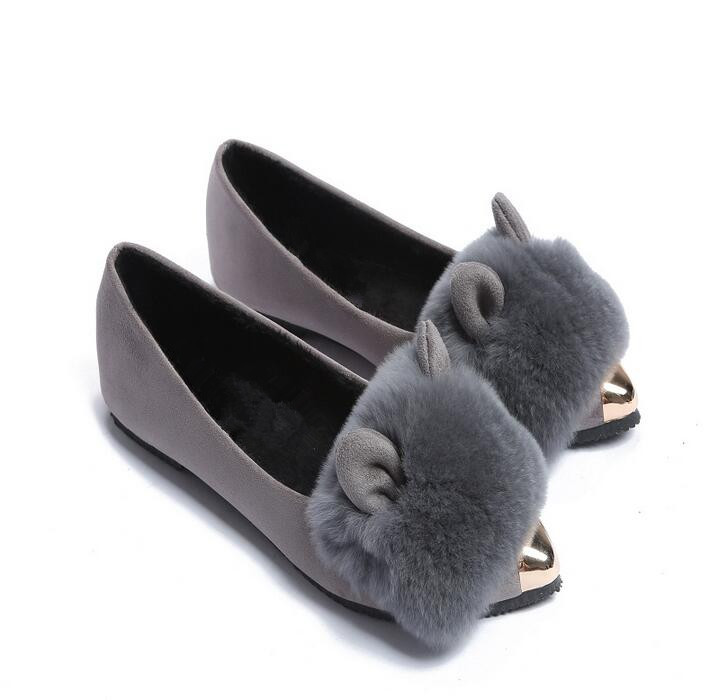 New Fashion Women Shoes Autumn Women Flats Pointed Toe Rabbit Ears Shoes metal decoration large size women shoes with flat shoes slhjc 2017 autumn flat heel shoes pointed toe women flats with metal chain real fur loafers work shoes d25