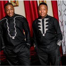 Африканская мужская одежда H & D Дашики базин богатая африканская рубашка для мужчин 2 предмета костюмы Топы с брюками Вышивка Узор PH3036