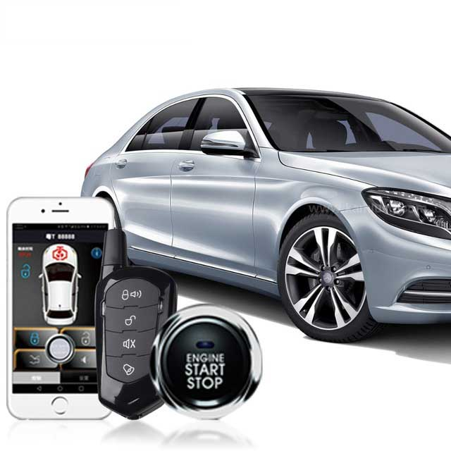 Mobile Phone Engine Strat Car Alarm Android/Iso Keyless Entry Remote Sensing PKE Start Stop