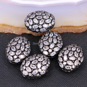 Image 4 - 5PCS ZYZ183 9817 Micro Pave CZ Oval Shape beads For Bracelet Necklace Jewelry Making Spacer Connector Metal Beads Findings