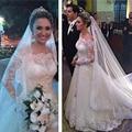 Imagem Real 2016 New Style Boat Neck Tribunal Train A Linha Lace Manga Comprida Vestidos de Casamento Vestidos de Noiva Muçulmana