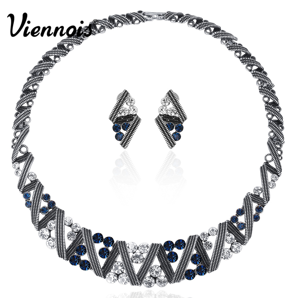 Viennois Vintage Silver Color Twisted Metallic Jewelry Sets Women Choker Necklace Stud Earrings Set Retro Style Trendy Jewelry viennois gold silver color jewelry set for women round stud earrings choker necklace cuff bracelet