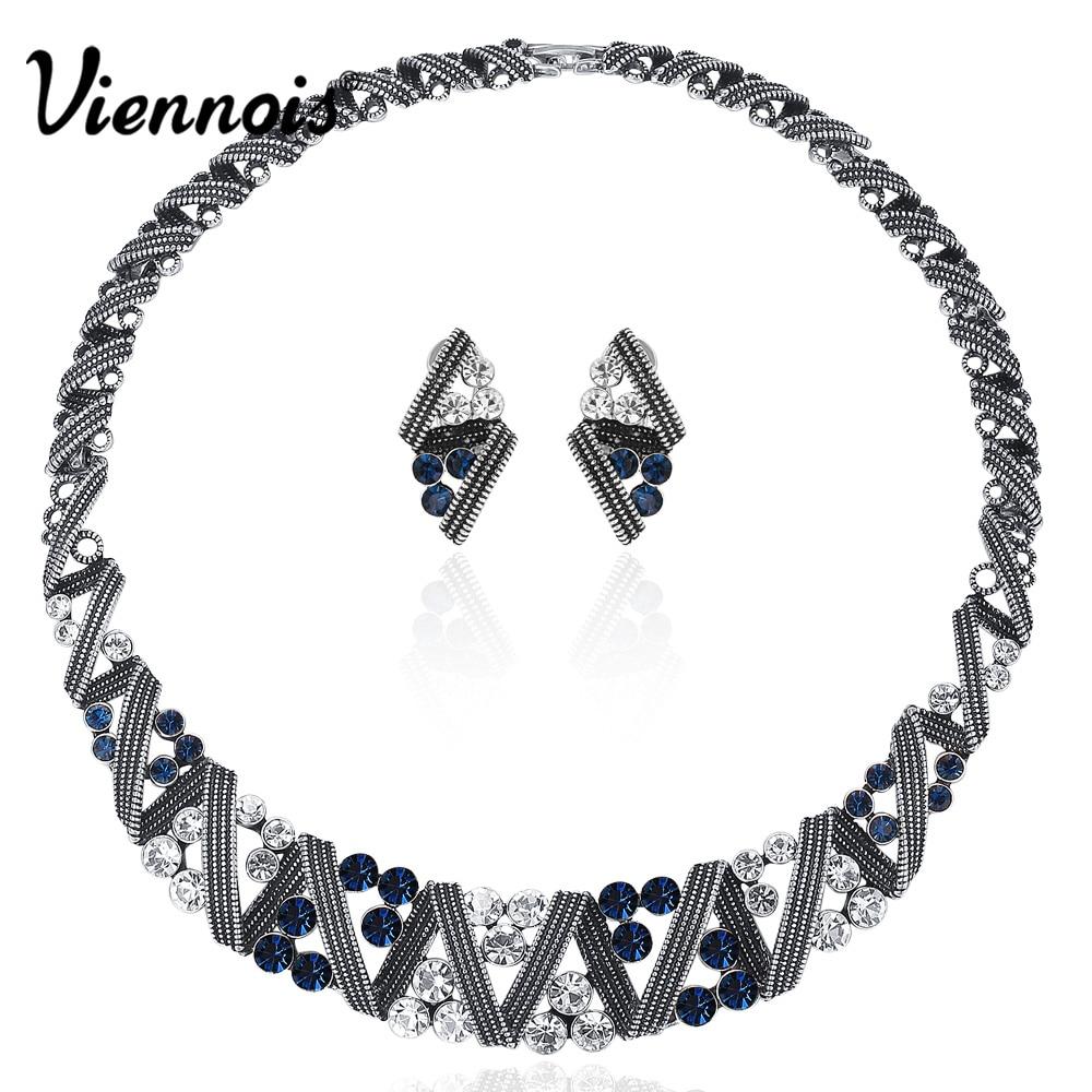 Viennois Vintage argent couleur torsadé métallique bijoux ensembles femmes ras du cou collier boucles d'oreilles ensemble rétro Style bijoux à la mode