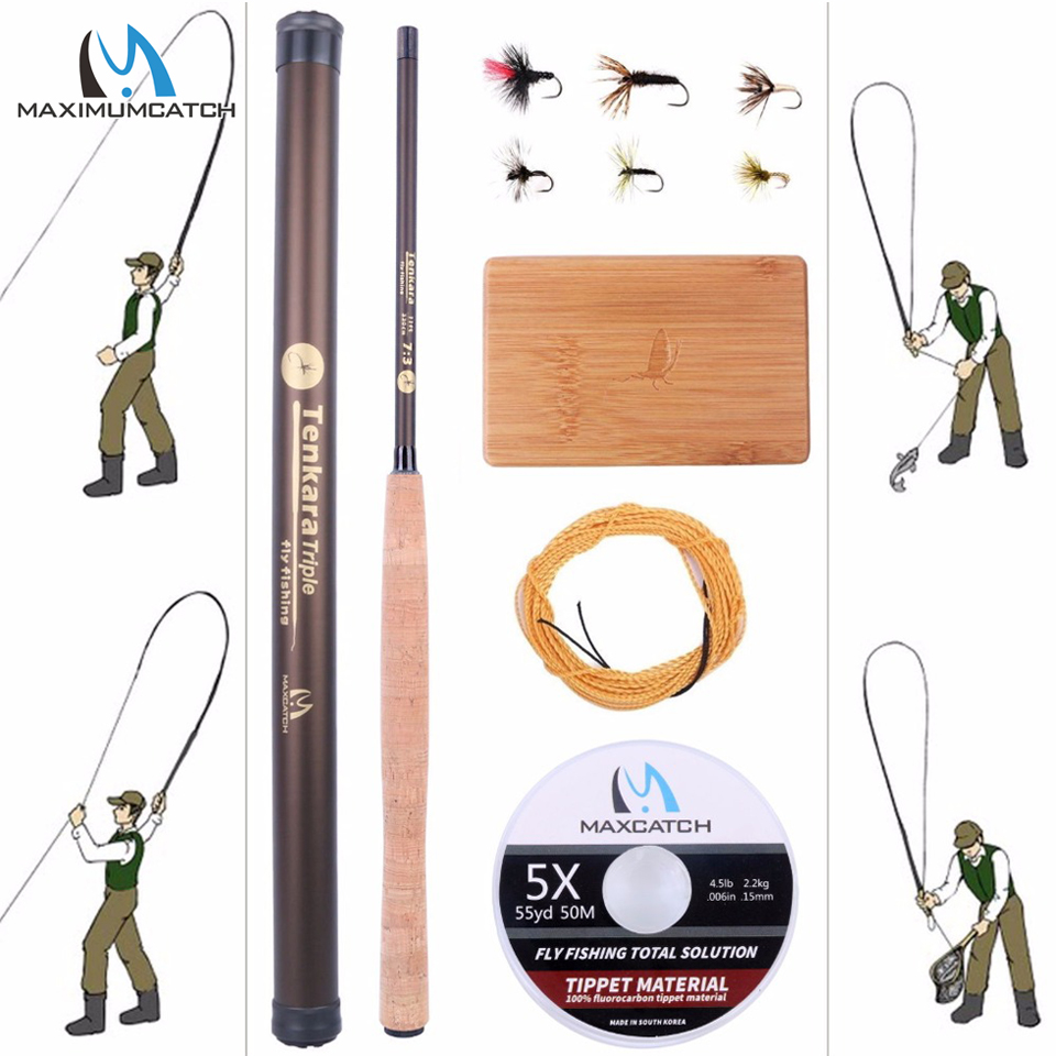 Maximumcatch 9-13FT V-Tenkara Rod Outfit IM10/36T Carbon Fiber Fly Rod&Tenkara Line&Wooden Box&Flies