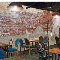 Beibehang Papel De Parede Custom Wallpaper 3d Photo Mural Paint Cement Vintage Brick Wall Cafe Restaurant