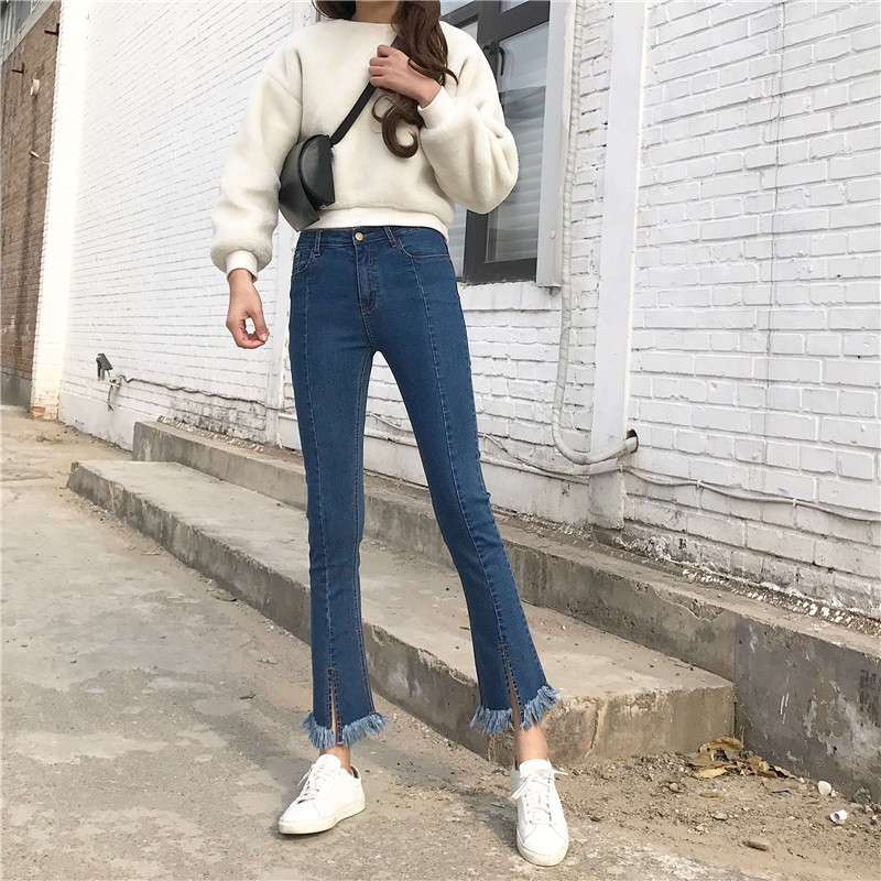 Hunter-wish 2017 Han Edition  The New  Skinny jeans Female Flare Pants Leg Leg Hem Open Fork With Burr  Nine-Points Denim Pants qiu dong season with plush slippers female students in the summer of 2017 the new han edition joker fashion wears outside a word