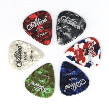 Paletas de guitarra alice celulóide, 6 peças, mediador de espessura 0.46 0.71 0.81 0.96mm-cor aleatória