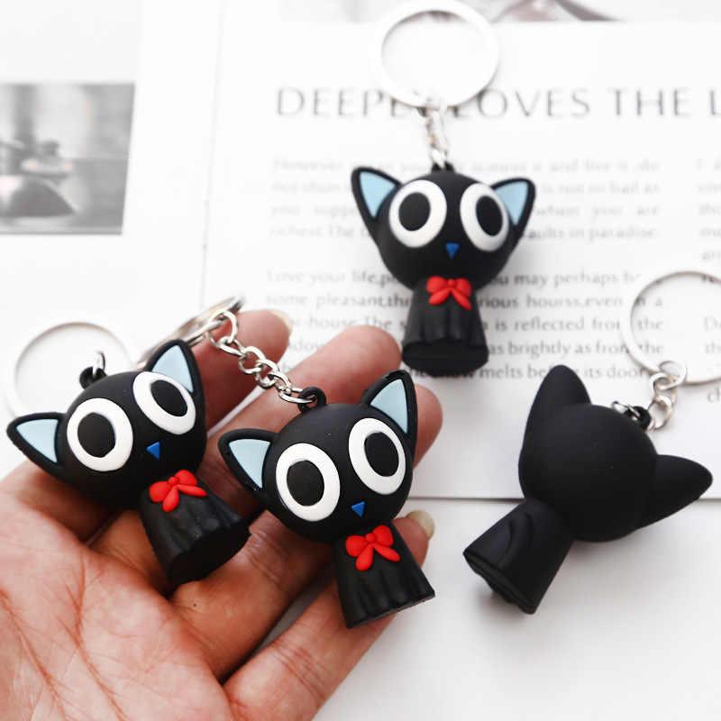 2019 moda sevimli karikatür bebekler küçük siyah kedi anahtarlık Porte Clef kadın anahtarlık araba biblo çift anahtar zincirleri çocuk oyuncak