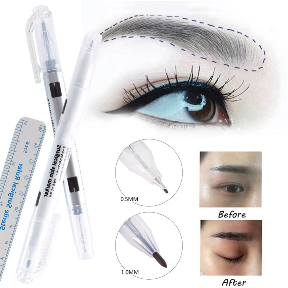 Surgical Skin Eyebrow Pen Tattoo Skin Marker Pencil With Measuring Ruler Eyebrow makeup tools