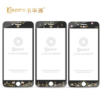Luxury Swarovski Element Crystals Bling Tempered Glass Screen Protector For IPhone 7 7 Plus Printing Flower