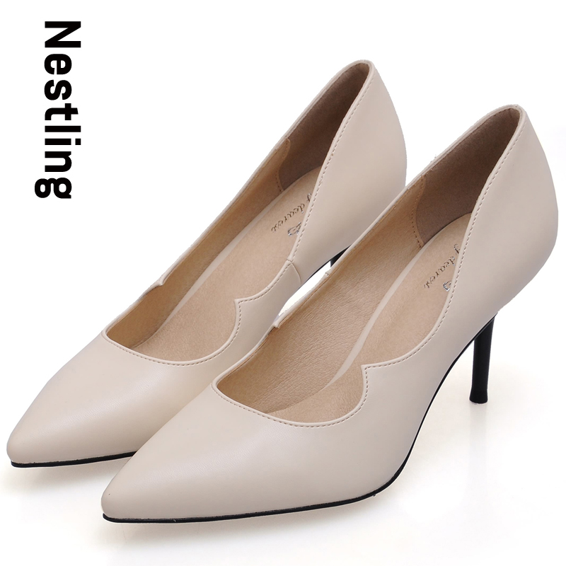 New 2016 Spring High Quality Leather Party Shoes Sexy Pointed Toe Thin High Heels font b