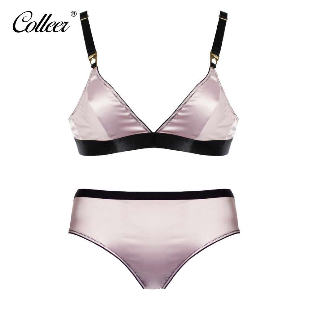 COLLEER New Women S Bras Set Ladies Wire Free Sequined Solid Unlined Adjusted Straps Intimate Lingerie