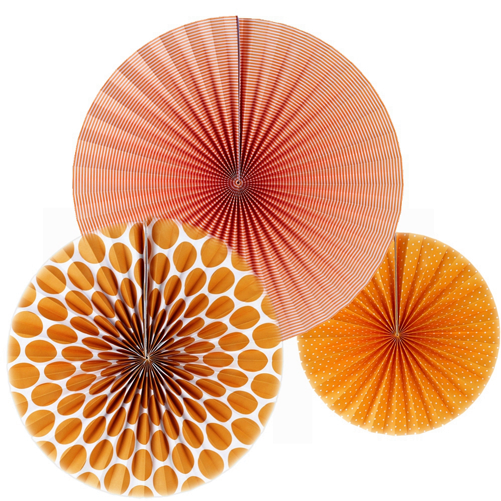 New Orange Set Paper Crafts Home Hanging Decoration Party Birthday Wedding Baby Shower Sunshine Bright Color Paper Fan 1