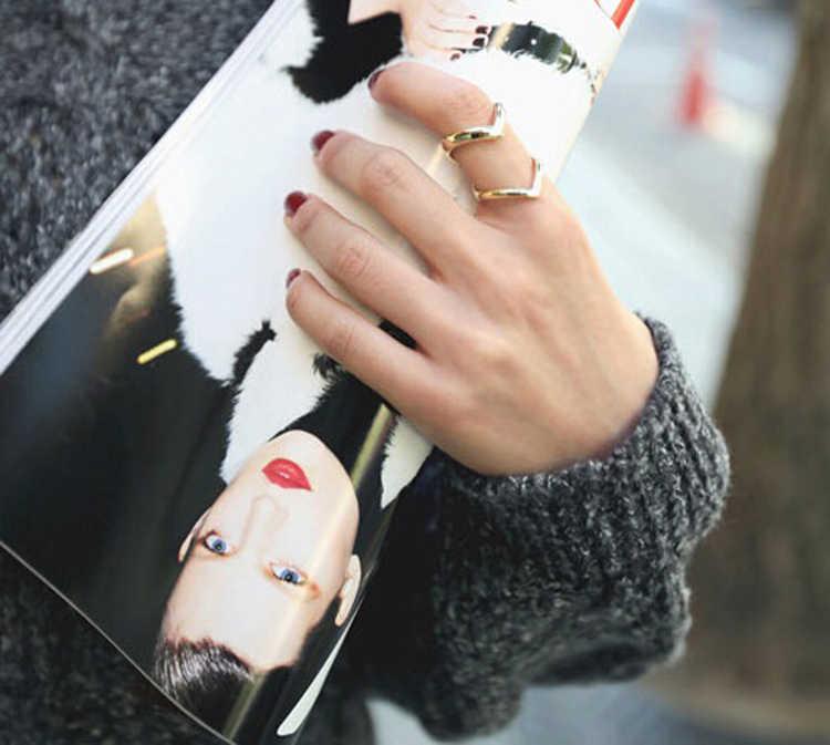 Модный Золотой посеребренный двойной v-образной формы полуоткрытый Регулируемый винтажный женский кольца с украшениями Прямая доставка