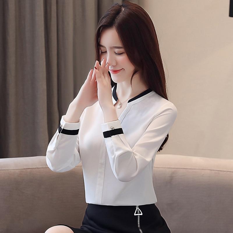 Womens Tops And Blouses Blusas Mujer De Moda 2021 Shirts Beading Chiffon Blouse Solid V-Neck White Shirts 2412 50 4