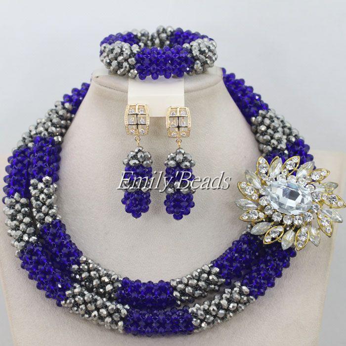 Latest Royal Women Stylish Bead Nigerian Wedding African Beads Jewelry Set Indian Dubai Bridal Jewelry Sets AIJ007 the latest dubai african jewelry sets new arrival indian jewelry set wedding handmade design bn240