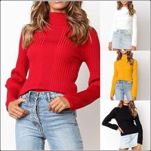 Women Autumn Winter Warm Bottoming Shirt Long Sleeve Knitted Sweater Stretch Slim Solid Color Cotton Tops Turtleneck Short Wool цена