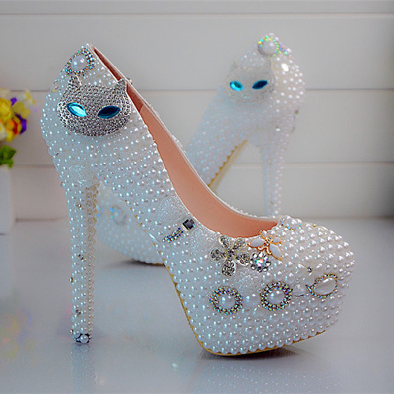 Gorgeous High Heels Prom Event Shoes Diamond Cat Rhinestone Wedding Shoes White Pearl Nightclub Party Dancing Plus Size 43 44 45 цена 2017