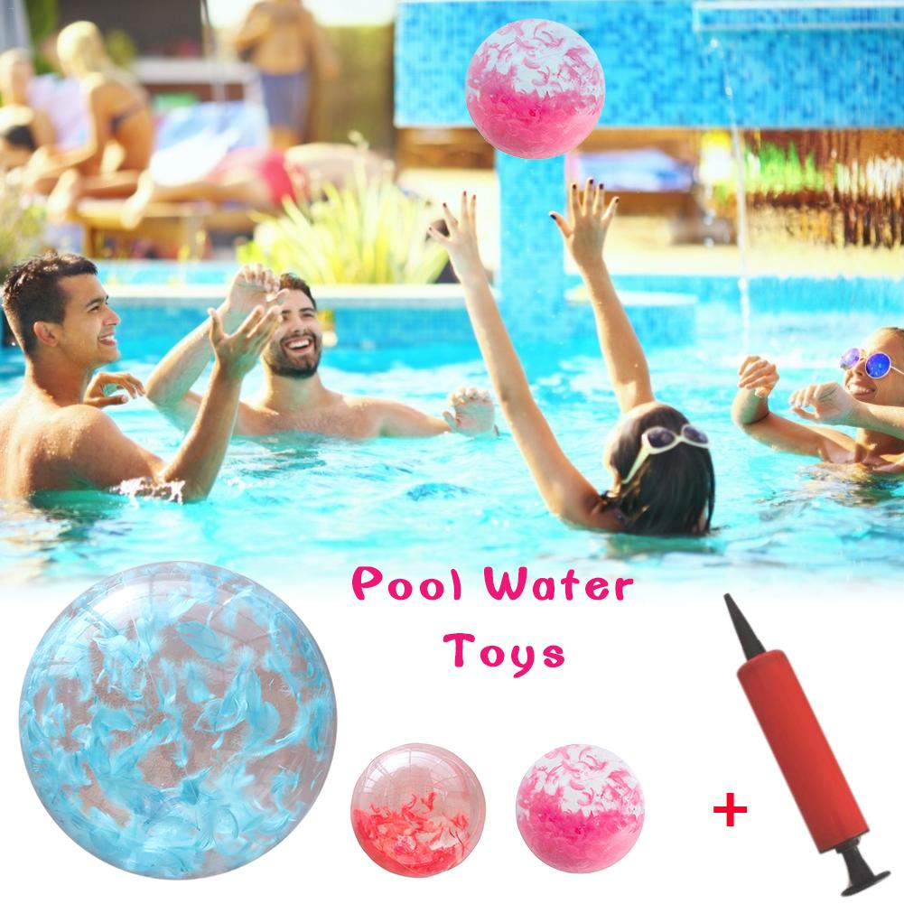 Inflatable Beach Ball Water Ball Transparent Beach Pool Paddle Toy With Built-in Feathers